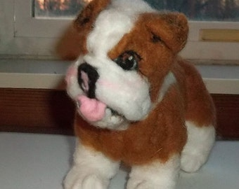 One of a Kind Needle Felted Bulldog
