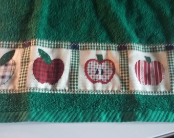 green apples bath or  kitchen towel