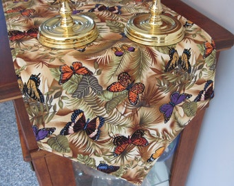 """Butterfly Table Runner 72"""" Reversible Tropical Green Fern Table Runner Tan and Green Table Runner Brown Table Runner Butterfly Table Decor"""