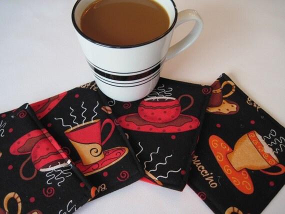 Coffee Cup Coasters Reversible Set Of 4 Or 6 Coffee Mug Rugs