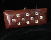 Vintage 50s Hard Plastic Clutch Purse with Rhinestones