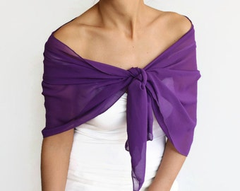 Purple Chiffon Shawl, Evening Stole Wrap, Solid Purple Formal Shoulder Scarf, Costume Dress Cover up