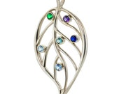 Family Leaf Birthstone Pendant in Sterling Silver