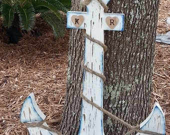LARGE Wood Anchor / Wedding Alternative Guest Book / Nursery Wall Hanging Beach Home Decor / White Navy / 2 FOOT TALL / Personalized