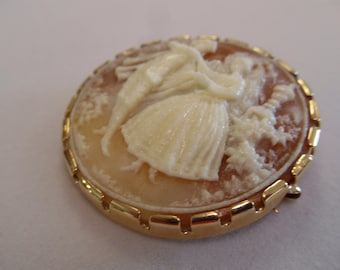 Vintage Lady and Man Cameo Brooch