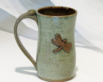 Dragonfly Mug, Large Mug, Green Mug,