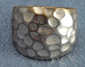 Vintage Brutalist Ring Hammered Metal Texture