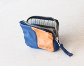 Leather coin purse in royal blue and brown,zipper pouch,zipper phone case,money bag,credit card-The Myrto Zipper pouch