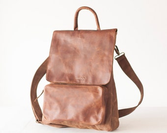 CLEARANCE Crossbody bag, backpack in brown waxed canvas and leather crossover bag  laptop 13 work bag messenger unisex - The Talos Bag
