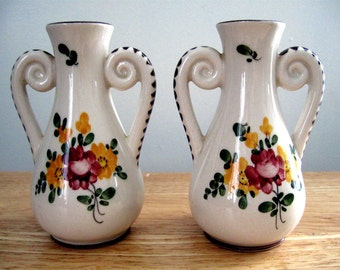 Vintage Pair Vases France Faience Pottery Two Handled Hand Painted Quimper Style