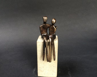 "PETITE BRONZE sculpture.  A romantic anniversary gift to say ""I love you"".  Crafted in Santa Fe by  artist  Yenny Cocq. Base included!"