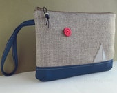 Large WRISTLET in grey canvas and blue vegan leather with sailing boat