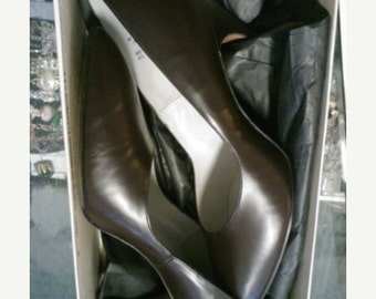 Pinup Perfection! NOS 50s Jocelli Brown Leather Stiletto heels with Taps Perfect - 8.5B
