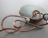 Bulky infinity hair pin in copper with aquamarine stones - Hair pin - Hair barrette - Hair slide - Shawl pin