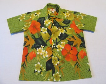 Vintage Hawaiian Shirt - Medium M - SEARS - Green - Floral - Polyester