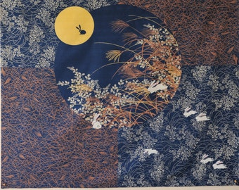 """the rabbits come out to play in the moonlight vintage Japanese cloth, furoshiki, 45"""""""