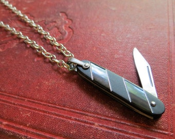 Vintage Mini Fob Pocket Knife Pendant Necklace