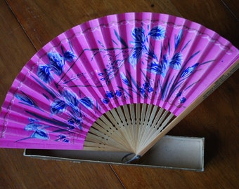 vintage floral paper folding fan - advertising - Compliments of Hinsdale Sanitarium and Hospital - Goth - Victorian
