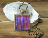 Red and Purple Striped Glass Square Necklace, Square Glass Pendant, Dichroic Jewelry, Dichroic Pendant, Fused Glass Jewelry, Square Necklace