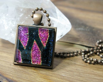 SALE, gift for her, statement necklace, coworker gift, pendant necklace, gifts under 25, dichroic glass, fused glass pendant, glass jewelry