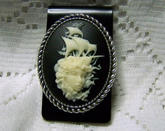 Lady of the Sea Lost Ship Cameo Black Money Clip, Siren, Neptune's Daughter Stormy Seas Mermaid & ship, Statement Piece, Pirate Ship