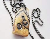 House Necklace Pendant,Tiny Dark Twisted Weird Clay House, Tiny House, Miniature House Jewelry, Pottery Cottage, Strange Crooked Shack B