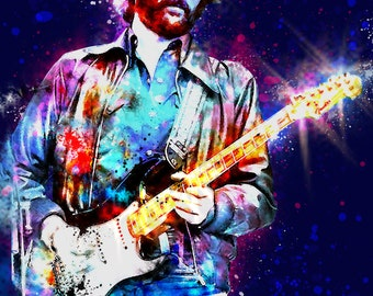 ERIC CLAPTON 13 x 19 Digital Painting Print Custom Art Rock and Roll Punk Metal Musician Mancave