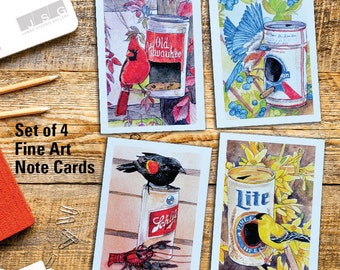 Birds and Beer Cans Blank Note Card Set of 4