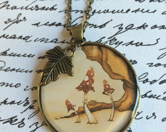 "Handmade ""Gypsy Moon"" Resin Pendant Necklace with Leaf Charm and Chain"