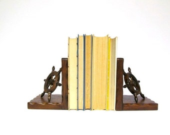 Vintage Nautical Ships Wheel Bookends, Captains Wheel, Bookend Pair