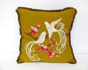 Love Birds, Embroidered Toss Pillow, White Birds, Love Birds, Romantic, Decorator Pillow