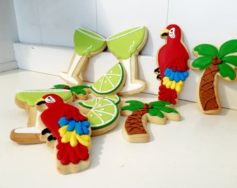 Margaritaville Theme hand decorated sugar cookies - 12 cookies