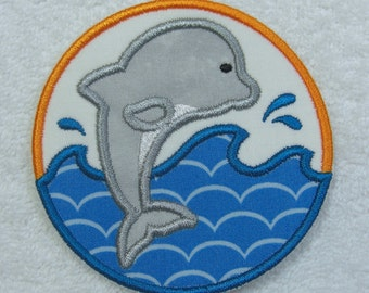 Jumping Dolphin Iron on Applique Fabric Embroidered Iron On Applique Patch Ready to Ship