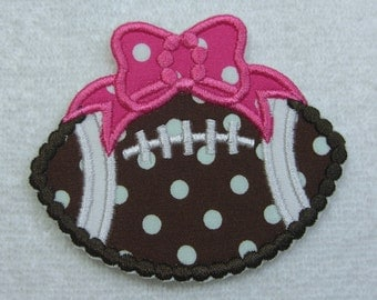 Girlie Football Fabric Embroidered Iron On Applique Patch Ready to Ship