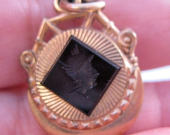 Victorian Antique Watch Fob Pendant Charm Intaglio Cameo Mercury Hand Carved Onyx Gold Filled 1800s Jewelry Jewellery FREE SHIPPING