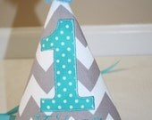 first birthday hat for boys in gray and white chevron with teal accents, cake smash, 1st birthday hat, first birthday hat personalized
