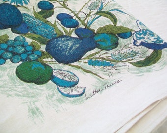 SALE - Luther Travis Tablecloth, Linen, blue, white, turquoise, fruit, leaves