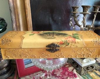 Vintage Victorian Early celluloid Ladies Ornate Cabin Woods Roses Dresser Glove Remnant Vanity Dresser Glove  Box