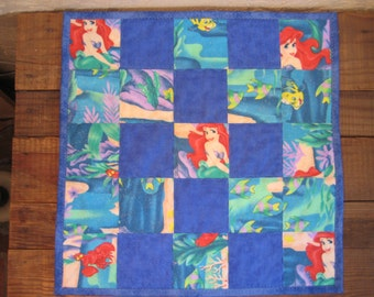 Little Mermaid Quilted Toddler Snuggle Blankie or Doll Blanket