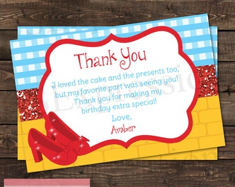 Rubby Red Slippers Birthday Party Thank you Card