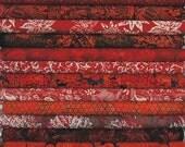 Hoffman Batiks, 12 Shades Of Red. 12 Fat Quarter Bundle Pre-Cuts!  Fat Quarter Batik Sampler--100% Cotton