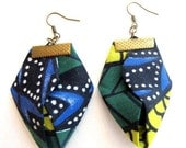 LetsPartySale Origami African clothing earrings, African clothing fiber earrings, African wax fabric earrings, tribal clothing