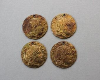 Oxidized Brass Antique Greek Athena Coin Charm Replica