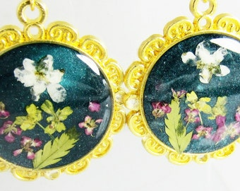Moonlit  Garden,  Real Flower Earrings, Pressed Flower Jewelry, Resin (1879}