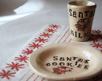 Santa cookie set - Cookies for santa - Christmas gift - plate and milk cup - ceramic santa set - Holiday Keepsake - unique pottery