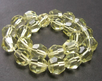 Vintage Jonquil Yellow Faceted Crystal Rounds (10mm) - Vintage Beads