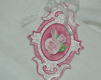 Rich Pink Gift Tag Ornament Cottage Style Handmade Rose on Glittered extra thick painted and glazed die cut shape