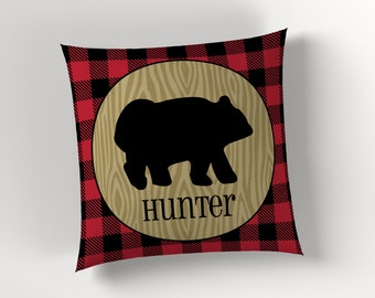 Lumberjack Buffalo Plaid Rustic Brown Bear Decorative Throw Pillow Cover or Pillow with Insert