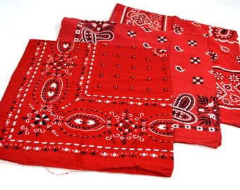 Lot of 3 Red Rockabilly Southwest Collectible Vintage Fast Color Bandanas - #B34
