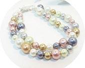 Multicolored Pearl Bracelet, 2 Strand Bracelet, Double Strand Bracelet, Pearl Bracelet, Gray Pink Gold Ivory Bracelet, Pearl Fashion